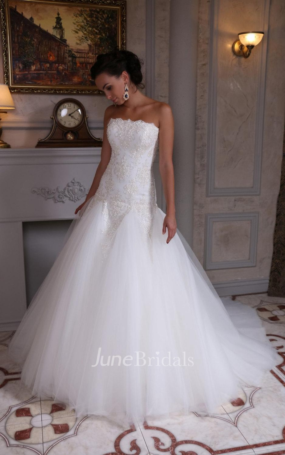 Strapless a line tulle wedding dress with dropped waist for A line dropped waist wedding dress