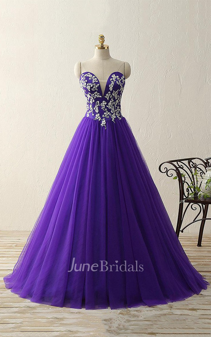 Ball Gown Floor Length Sweetheart Tulle Appliques Dress