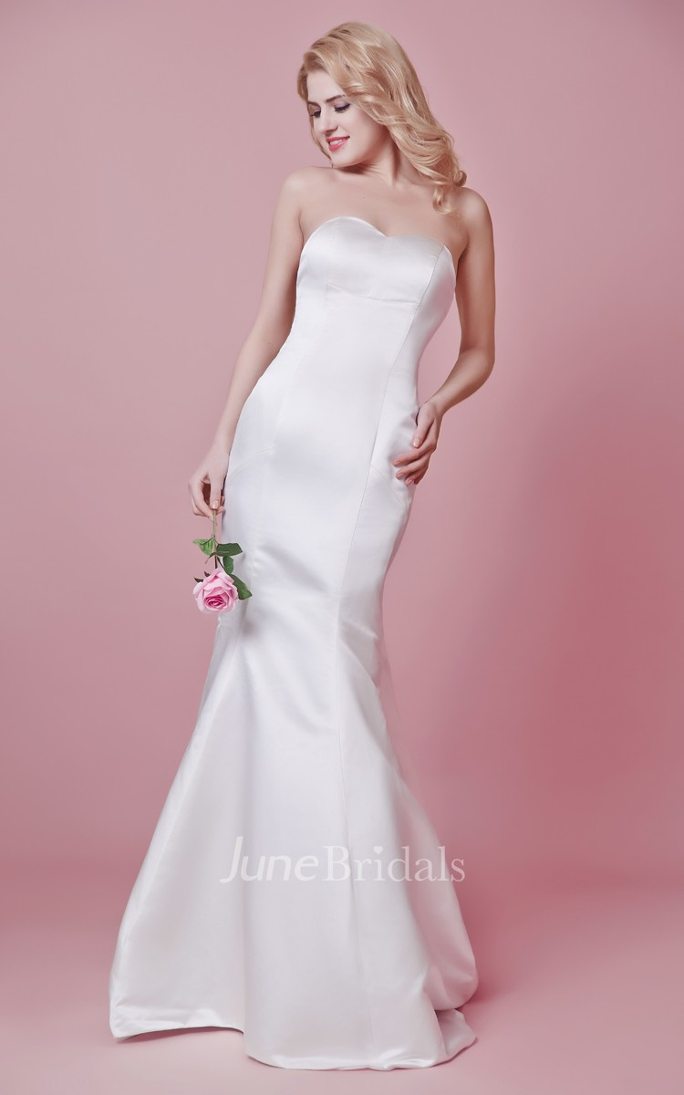 Simple sweetheart mermaid satin and chiffon dress june for Simple wedding dresses under 100