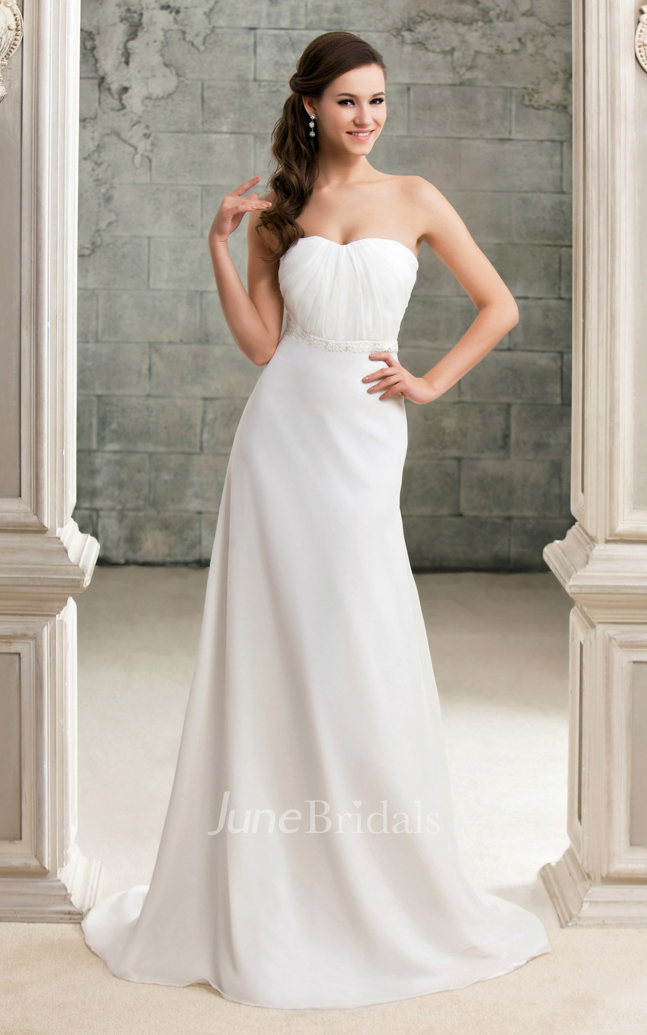 Strapless Ruched Floor Length Dress With Beaded Waist And