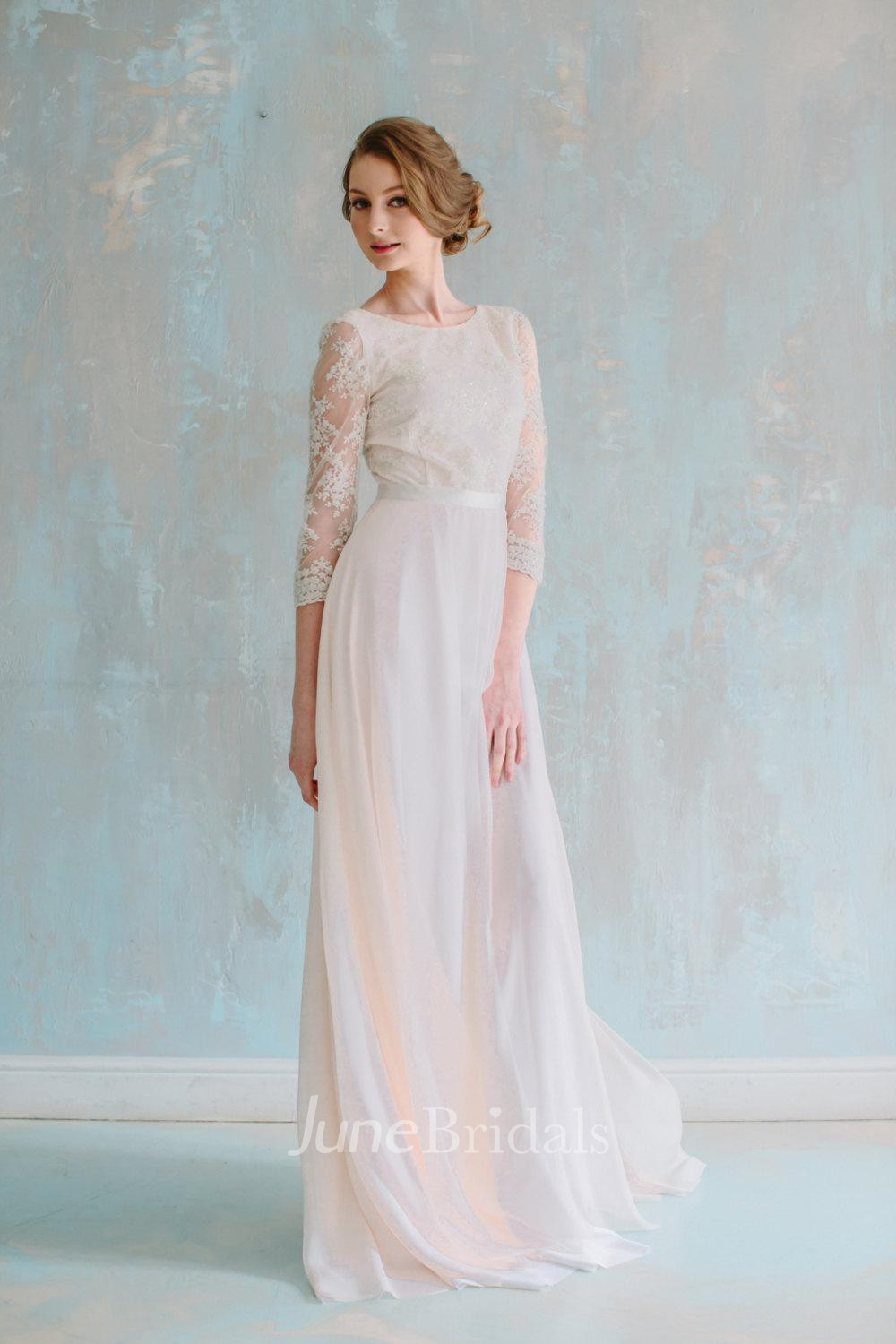 Jewel neck 3 4 sleeve long chiffon dress with lace bodice for Long sleeve chiffon wedding dress