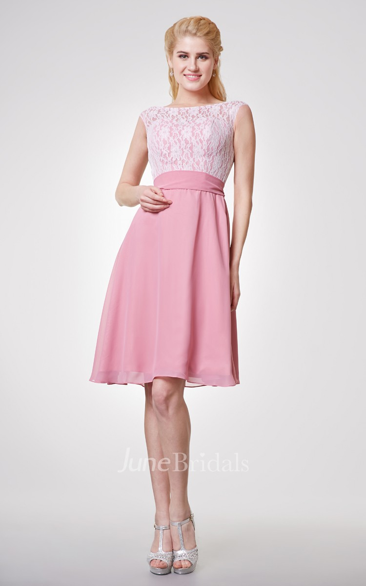 Bateau Lace Cap-sleeved A-line Short Dress With Chiffon Skirt - June ...