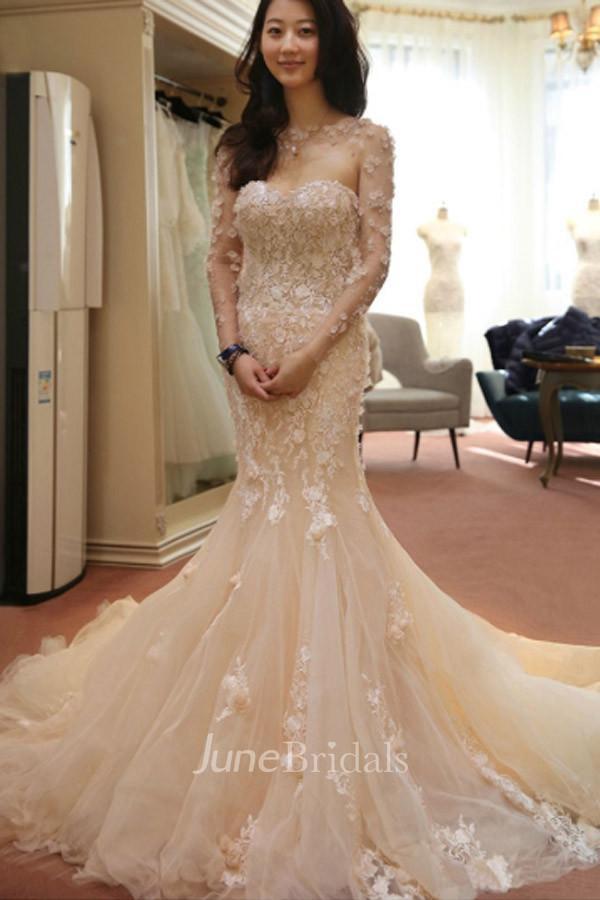626a89f3476a Designer Open Back Sheer Flowers Long Sleeve Mermaid Wedding Dress - June  Bridals