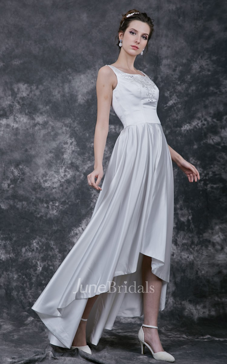 enchanting satin wedding gown with asymmetrical hemline