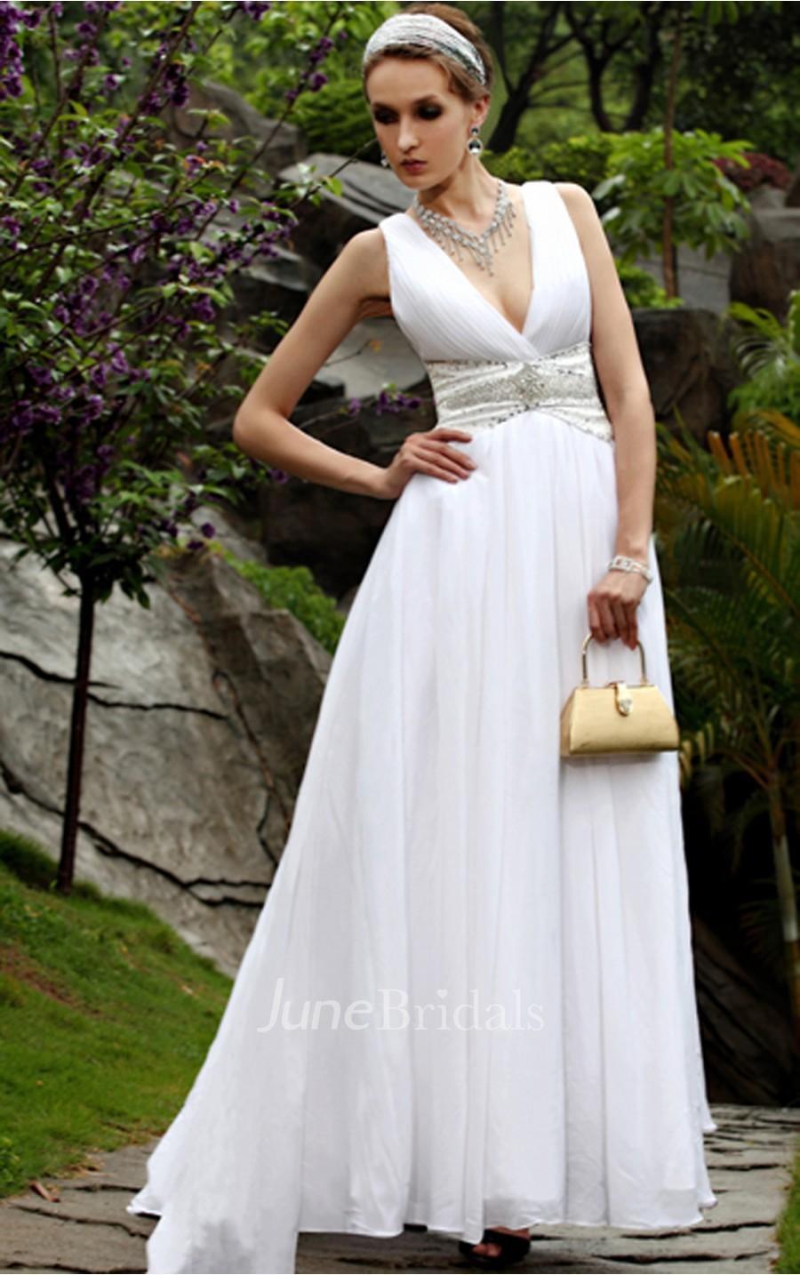 Elegant White A Line Floor Length V Neck Dress June Bridals