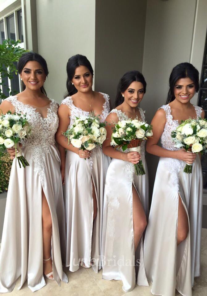 Sexy Lace Appliques Front Split Bridesmaid Dress 2018 A-line Floor-length