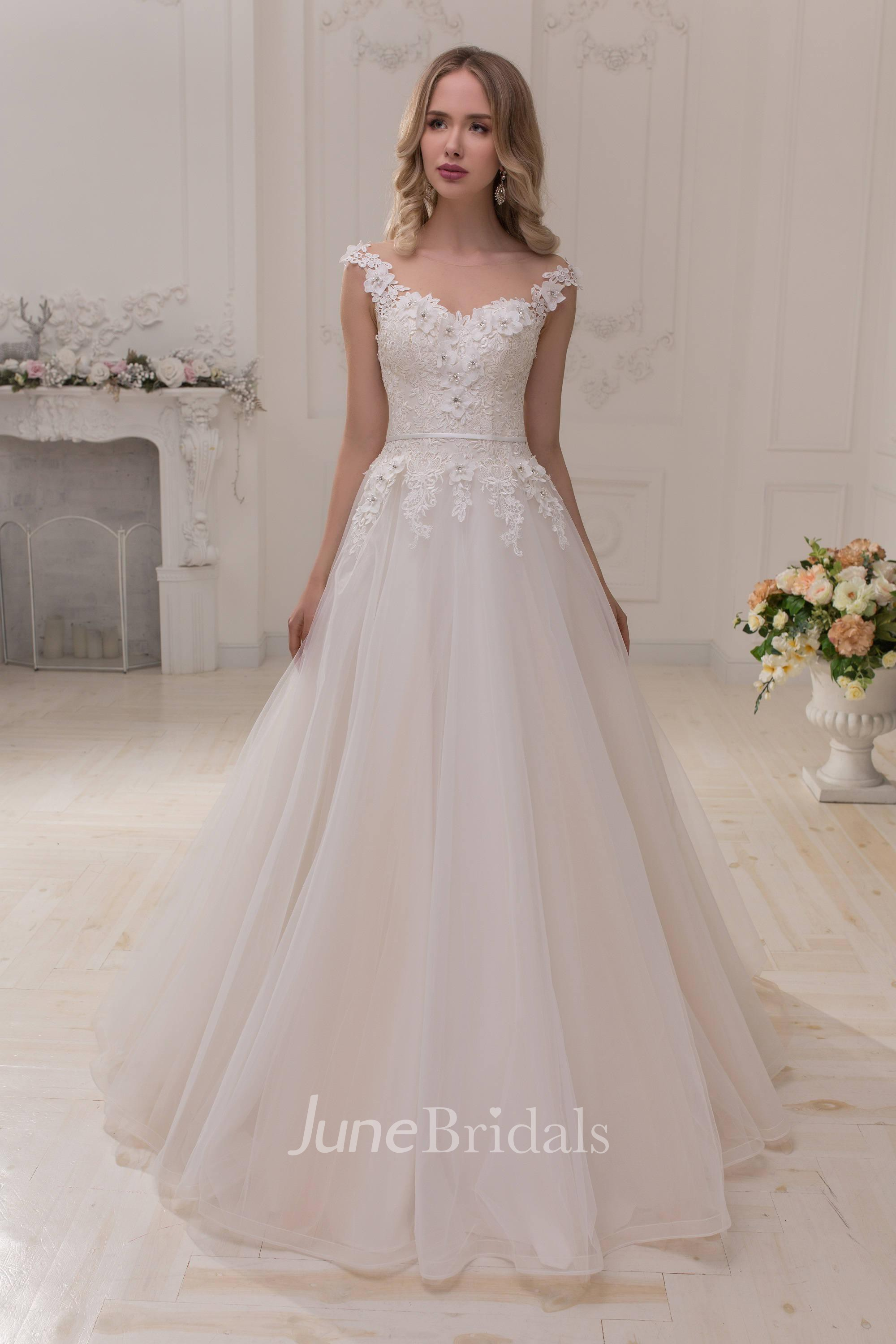 Scoop-Neck Cap-Sleeve A-Line Tulle Ball Gown Wedding Dress ...