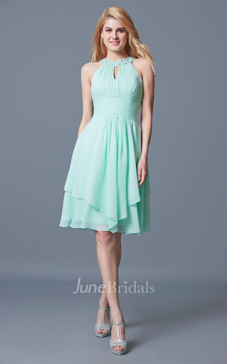 Halter Short Empire Chiffon Bridesmaid Dress With Ruffles - June Bridals