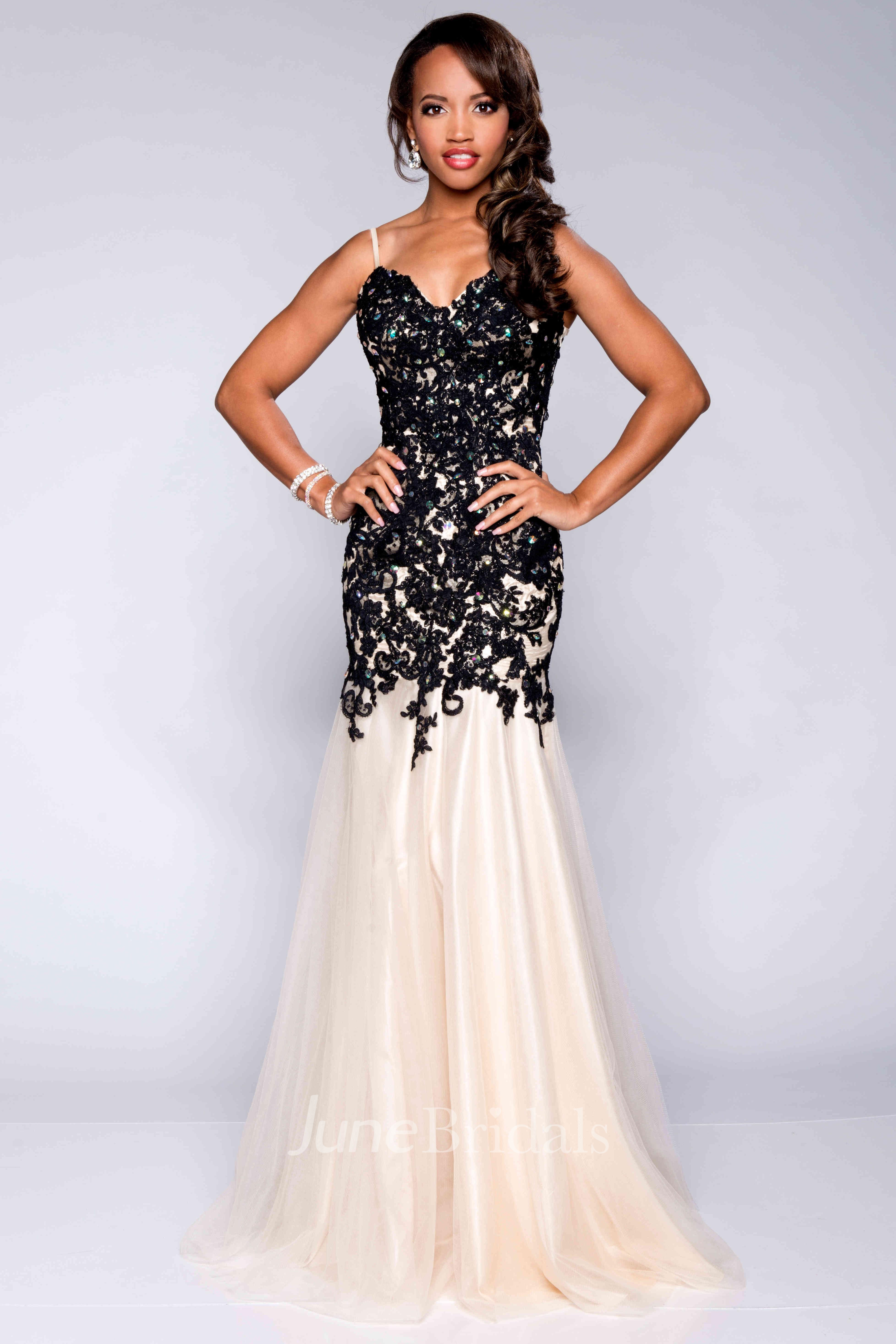 4bfb241ff816 Lace And Tulle Trumpet Prom Dress With Spaghetti Straps - June Bridals