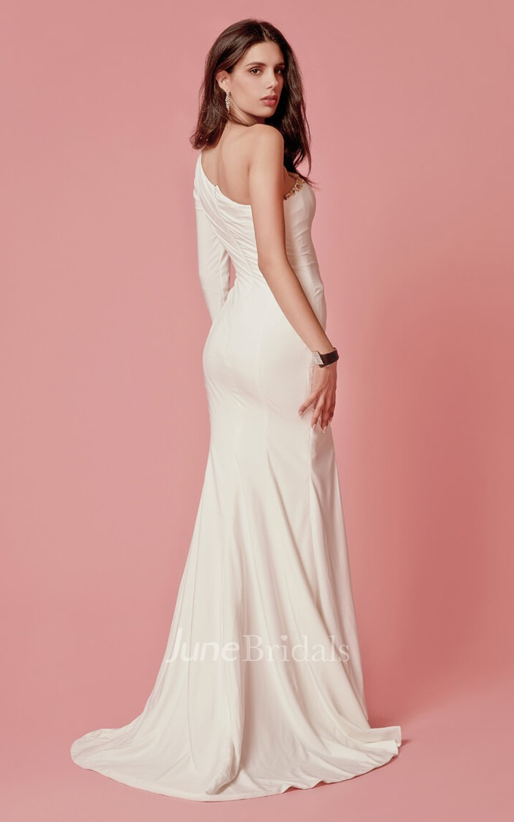 One-shoulder Crystal-beaded Jersey Sheath Gown With High-slit - June ...