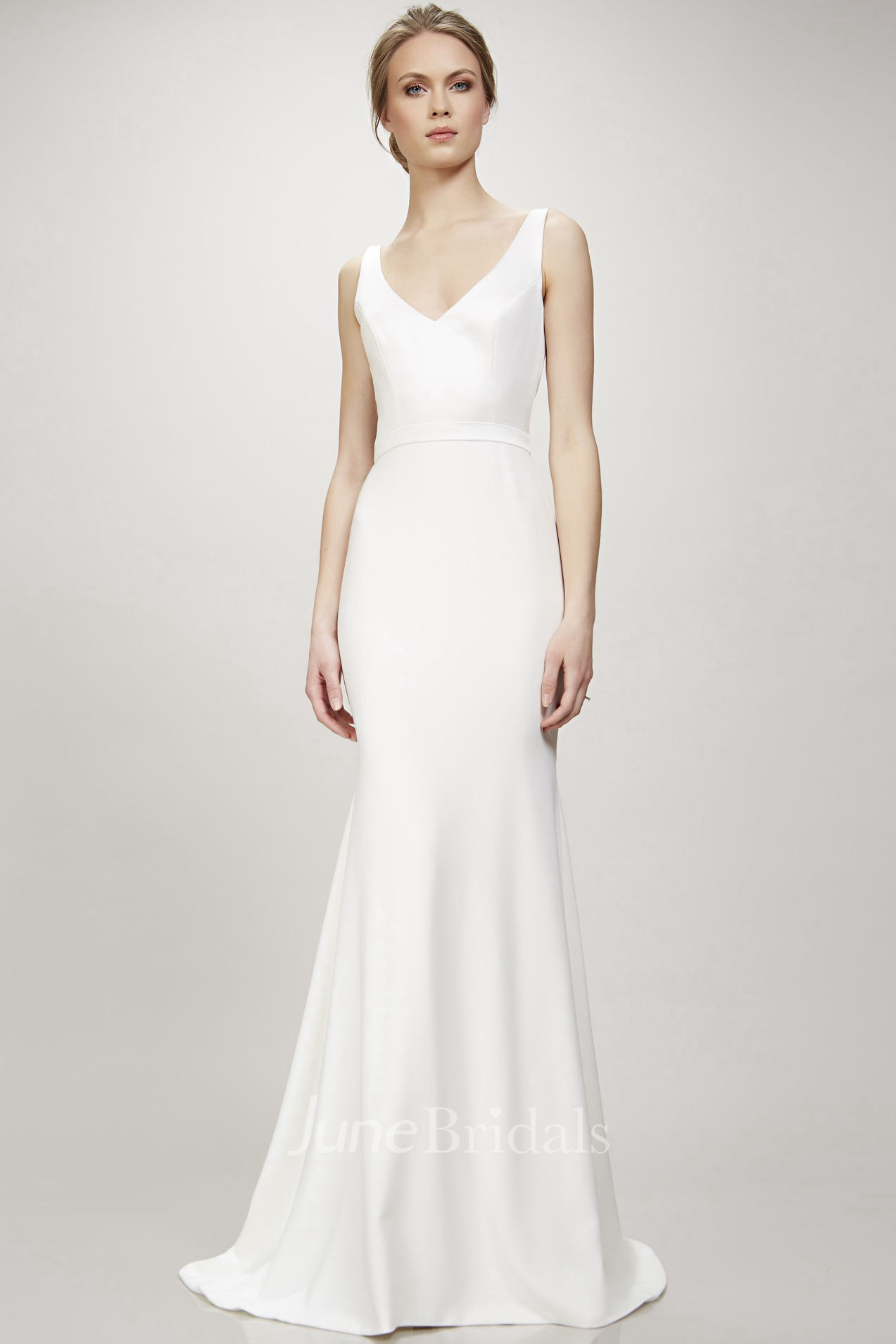 Long V Neck Wedding Dress With Sweep Train And V Back