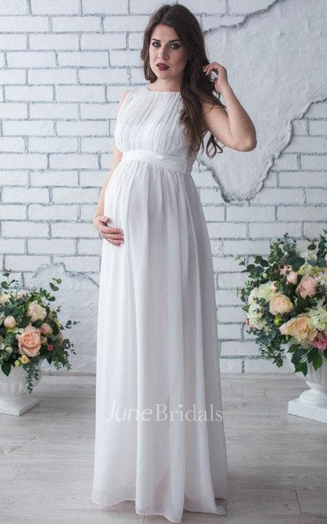 Sleeveless sleeve chiffon maternity wedding dress with for Cheap wedding dresses for pregnant women