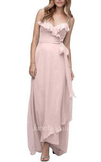 Spagetti Straps Wrap Tea Length Chiffon Bridesmaid Dress