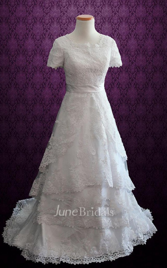 Modest Short Sleeves Lace Church White Conservative Harper