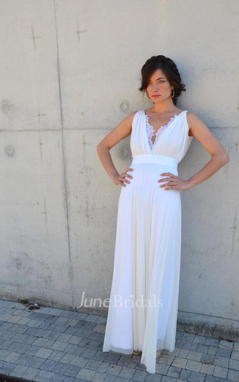 V neck sleeveless backless sheath chiffon wedding dress for Backless sheath wedding dresses