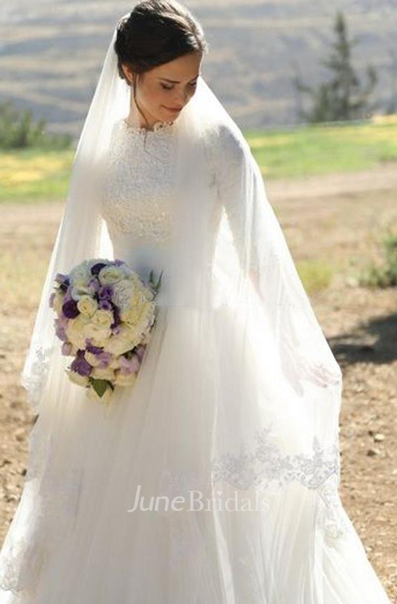 0ac33fc0a9ad Elegant High Neck Half Sleeves Appliques Lace Tulle Floor Length Modest  Wedding Gown - June Bridals