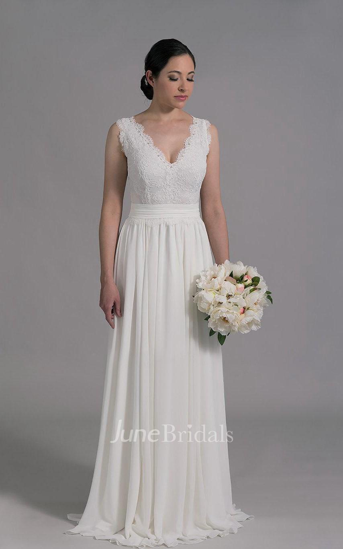 Deep v neck sleeveless long a line wedding dress with for A line skirt wedding dress