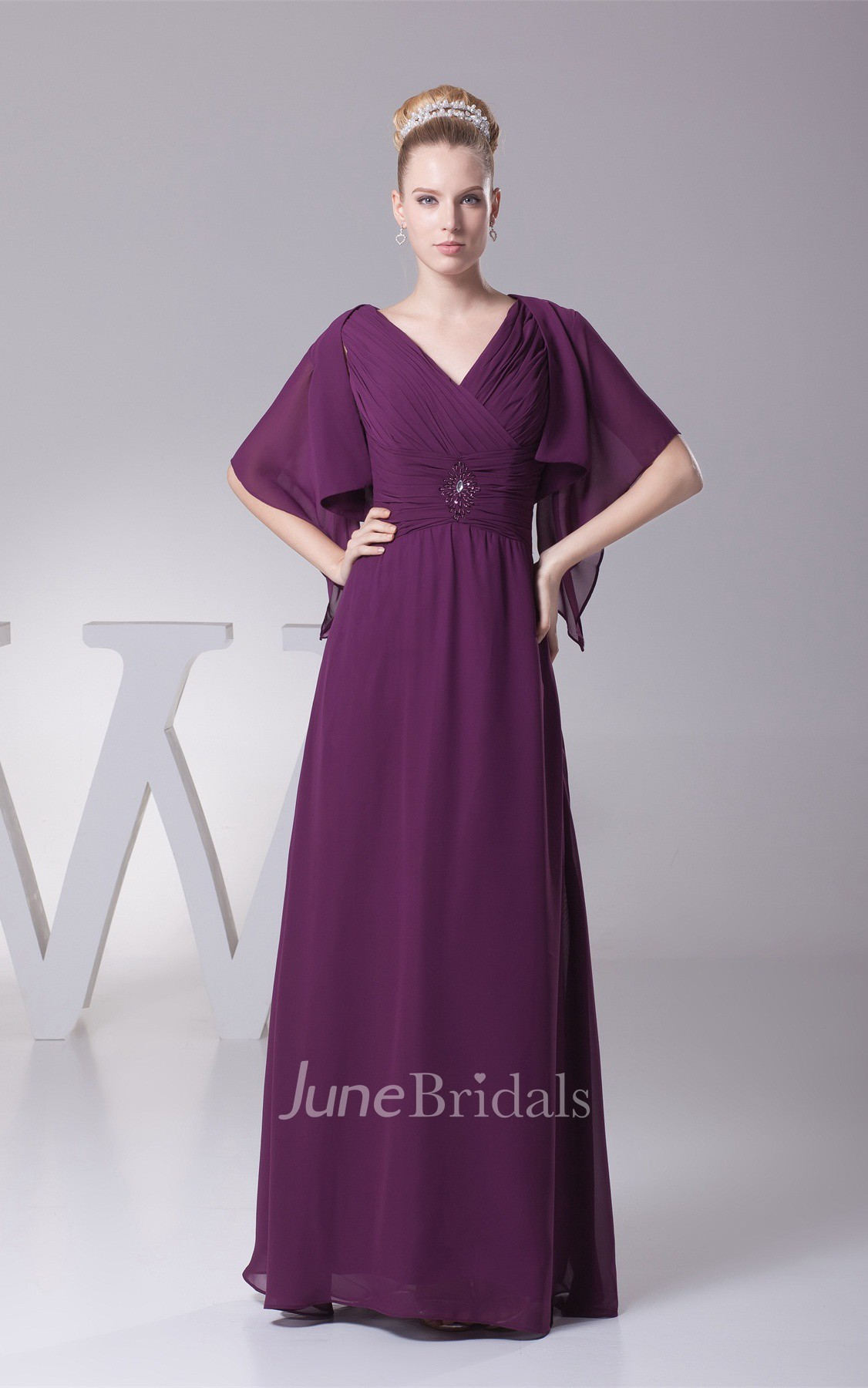 plunged criss cross chiffon maxi dress with broach and. Black Bedroom Furniture Sets. Home Design Ideas