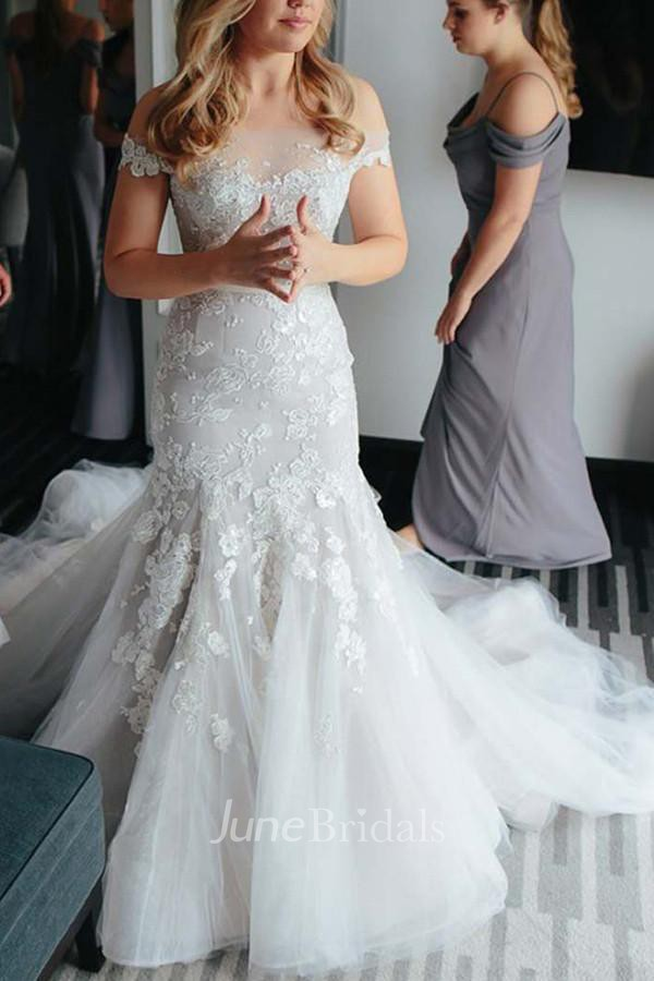 6a316f87dc4 Off-the-shoulder Court Train Lace Tulle Wedding Dress with Appliques - June  Bridals