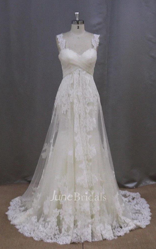 Long sleeveless a line lace wedding dress with empire for Empire lace wedding dress