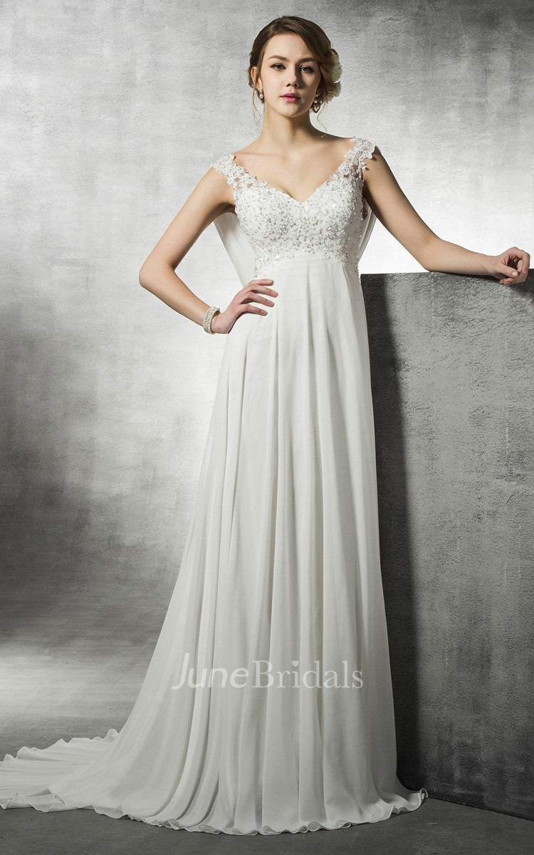 Off the rack bridal and bridesmaid dresses june bridals a line empire chiffon and lace dress with beadings and back cowl ombrellifo Gallery