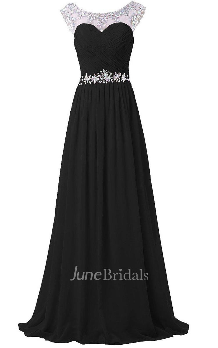 Cap Sleeve Floor Length Chiffon Dress With Flower Beadings