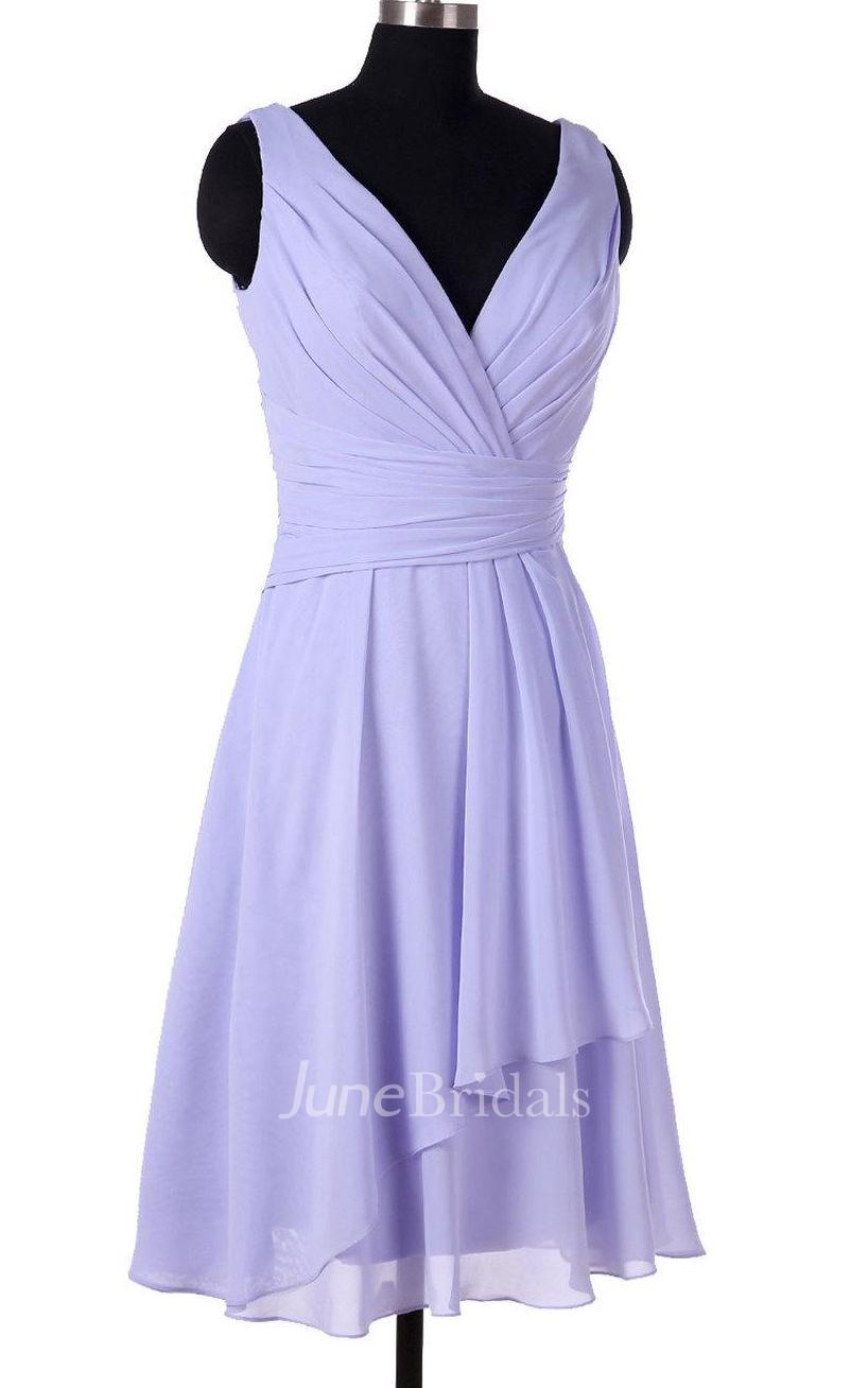 Lavender Bridesmaid Short Chiffon V Neck Bridesmaid Prom