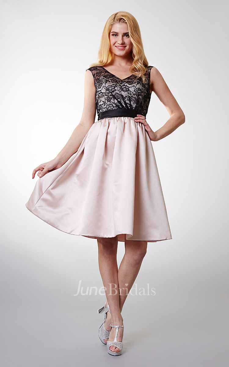 Enchanting Country Lace Short Dress With Sash Belt June