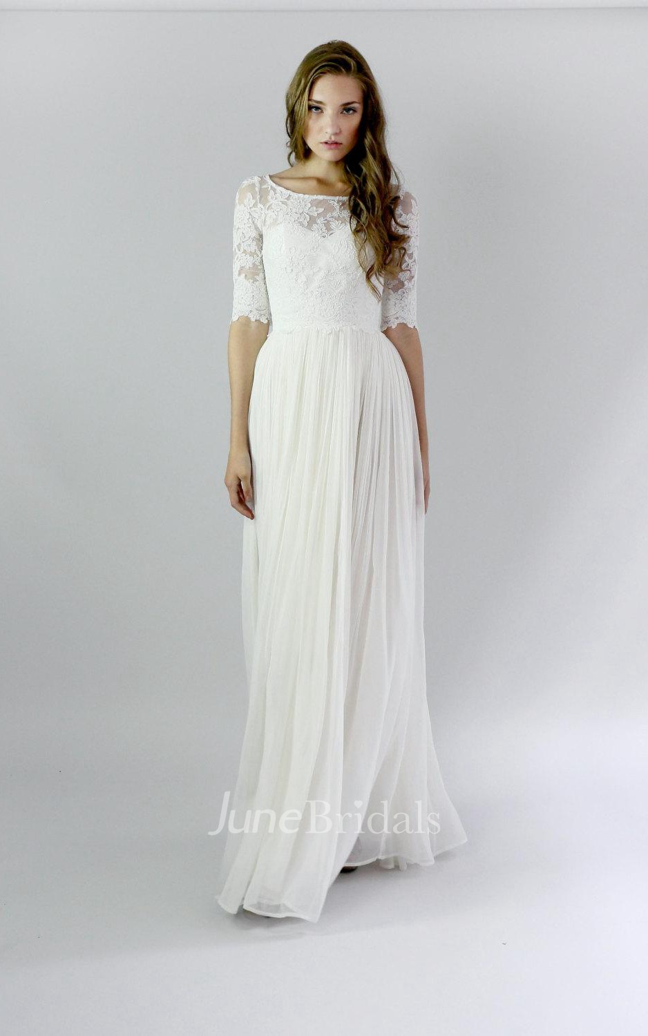 8d4597e7942f Button Back Sheath Chiffon Wedding Dress With Lace And Pleats - June Bridals