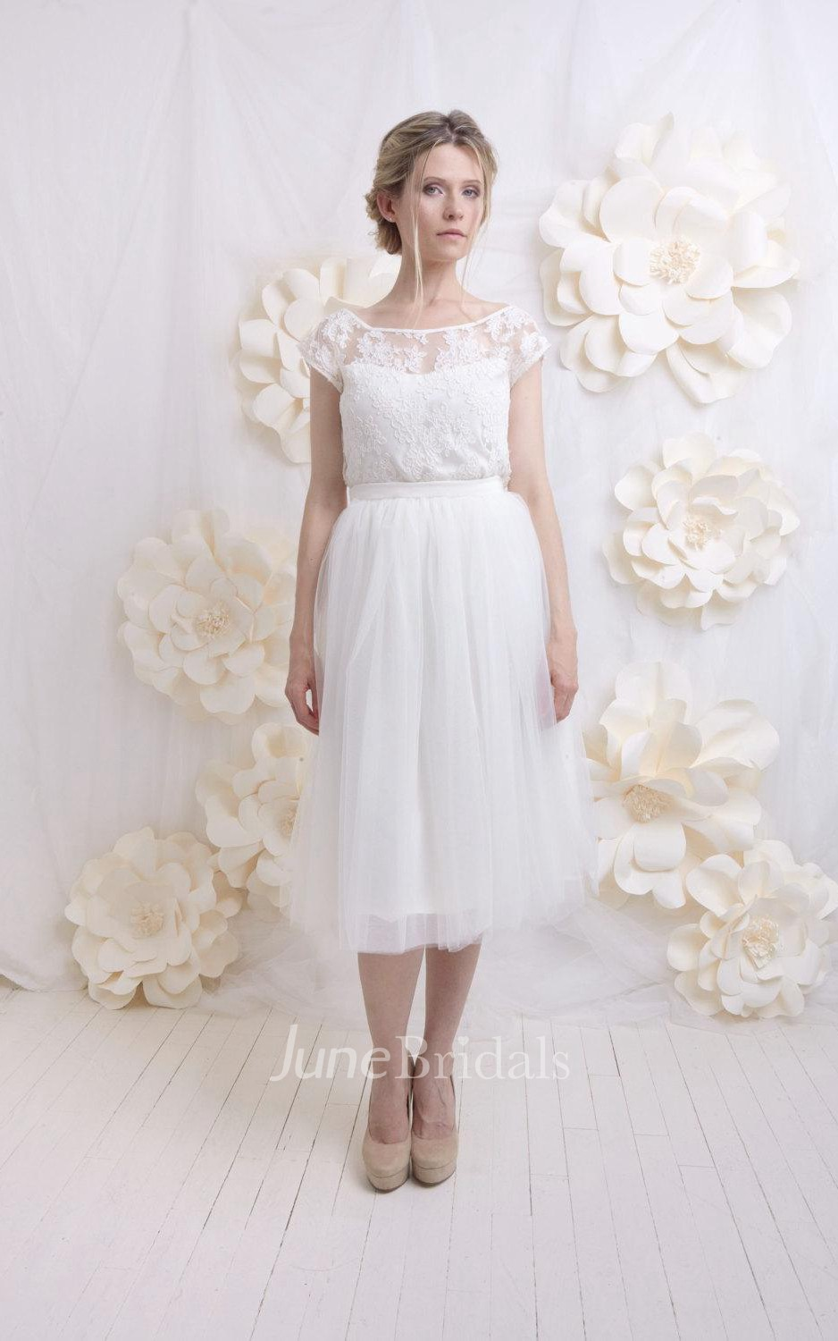Short Wedding French Lace Top Tulle Skirt Romantic And