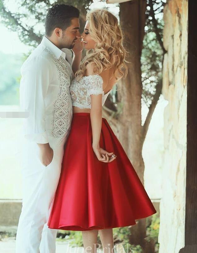 81253fc8676d Sexy Lace Tea-length Two Piece Prom Dress 2018 Off-the-shoulder A-line - June  Bridals