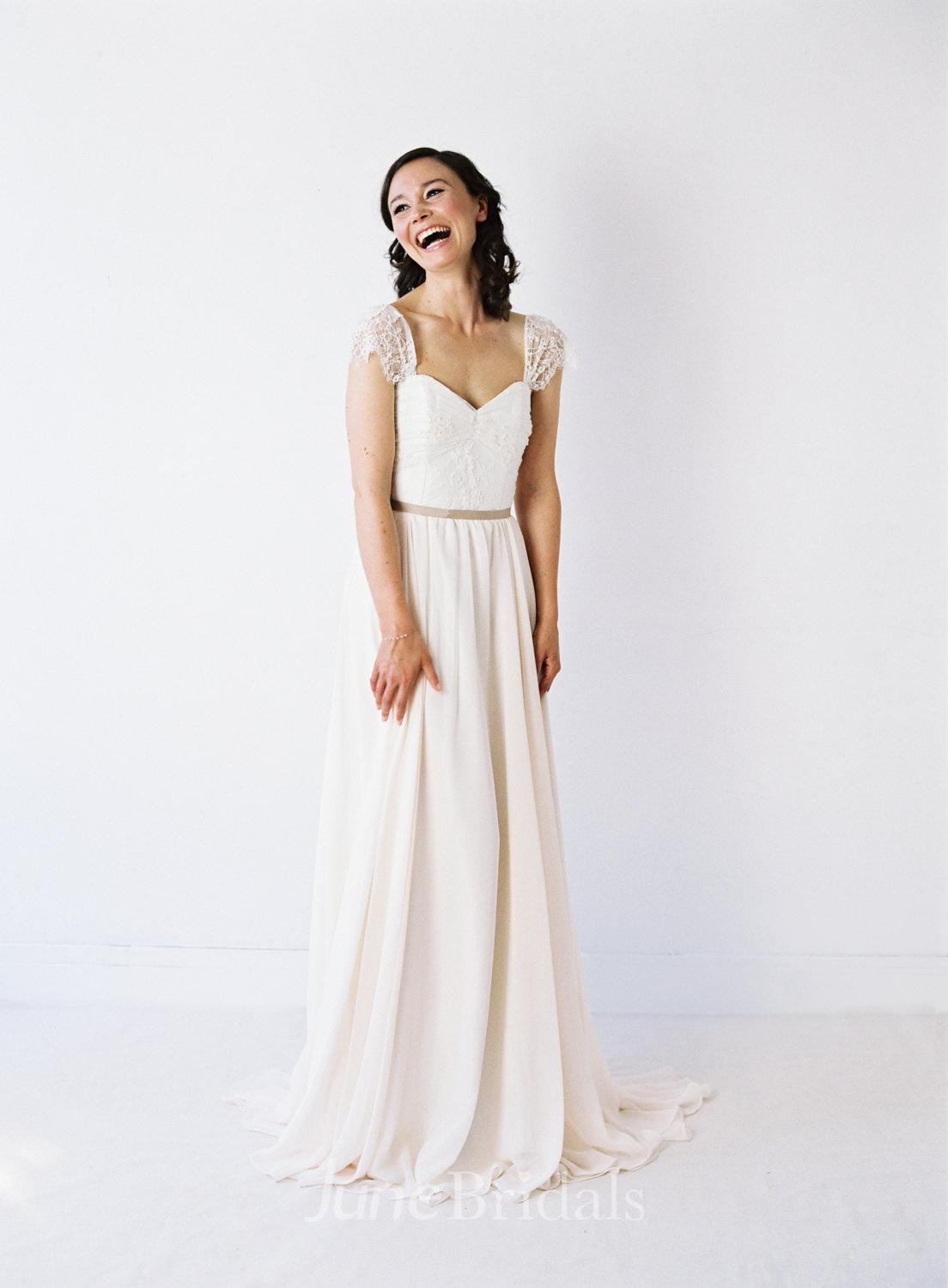 7dfad3da11a62 Two-Toned Sweetheart Neck Pleated Chiffon Wedding Dress With Delicate Lace  Sleeves - June Bridals