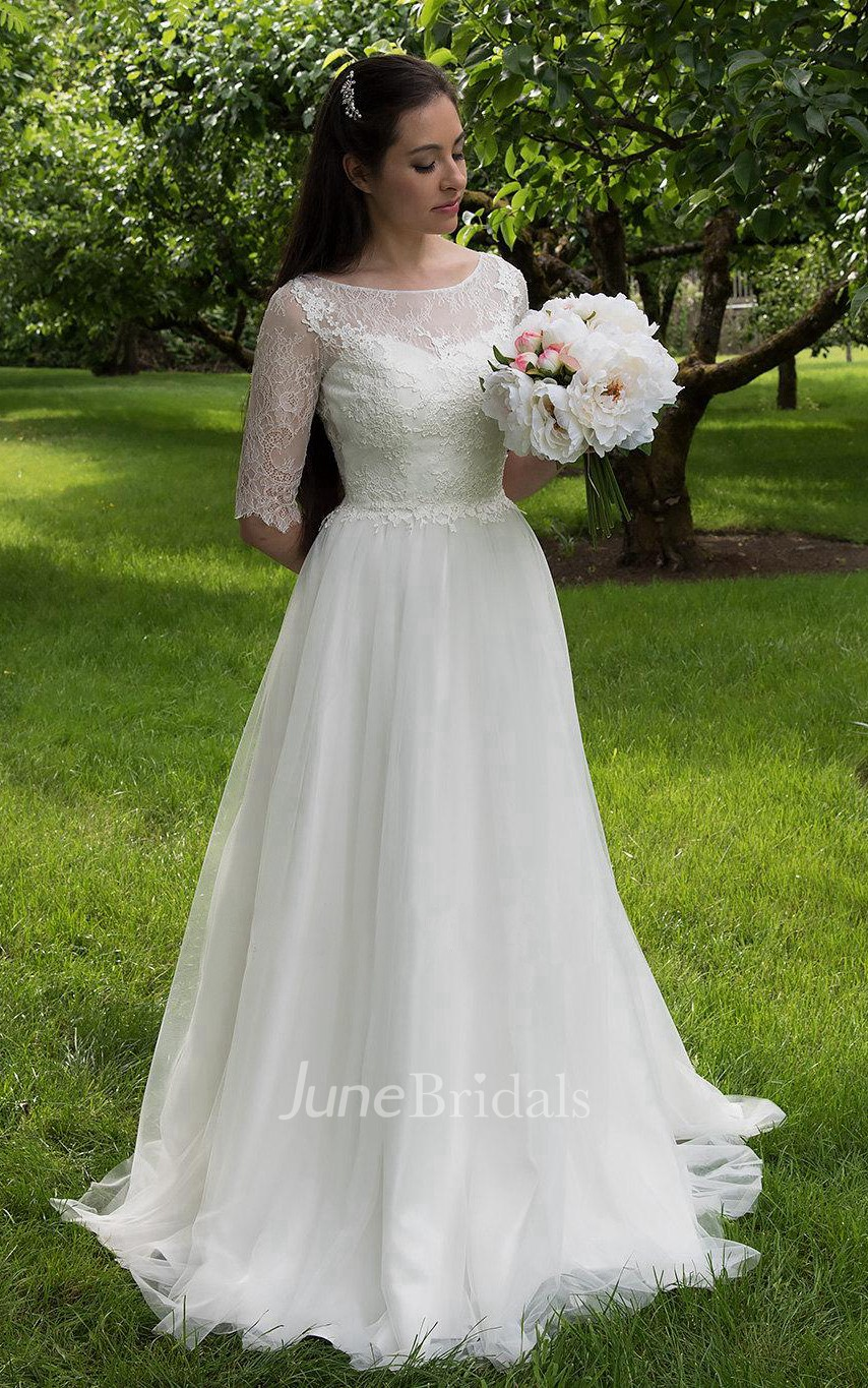 0839134b7abd7 Long A-Line Tulle and Lace Wedding Dress With Elbow Sleeves - June Bridals