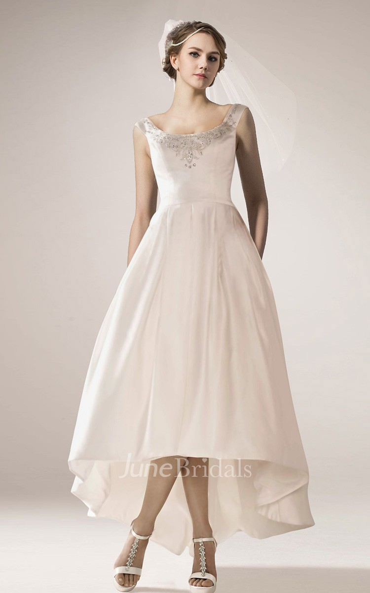 7b71987a04 Vintage High Low Wedding Gown With Straps - June Bridals