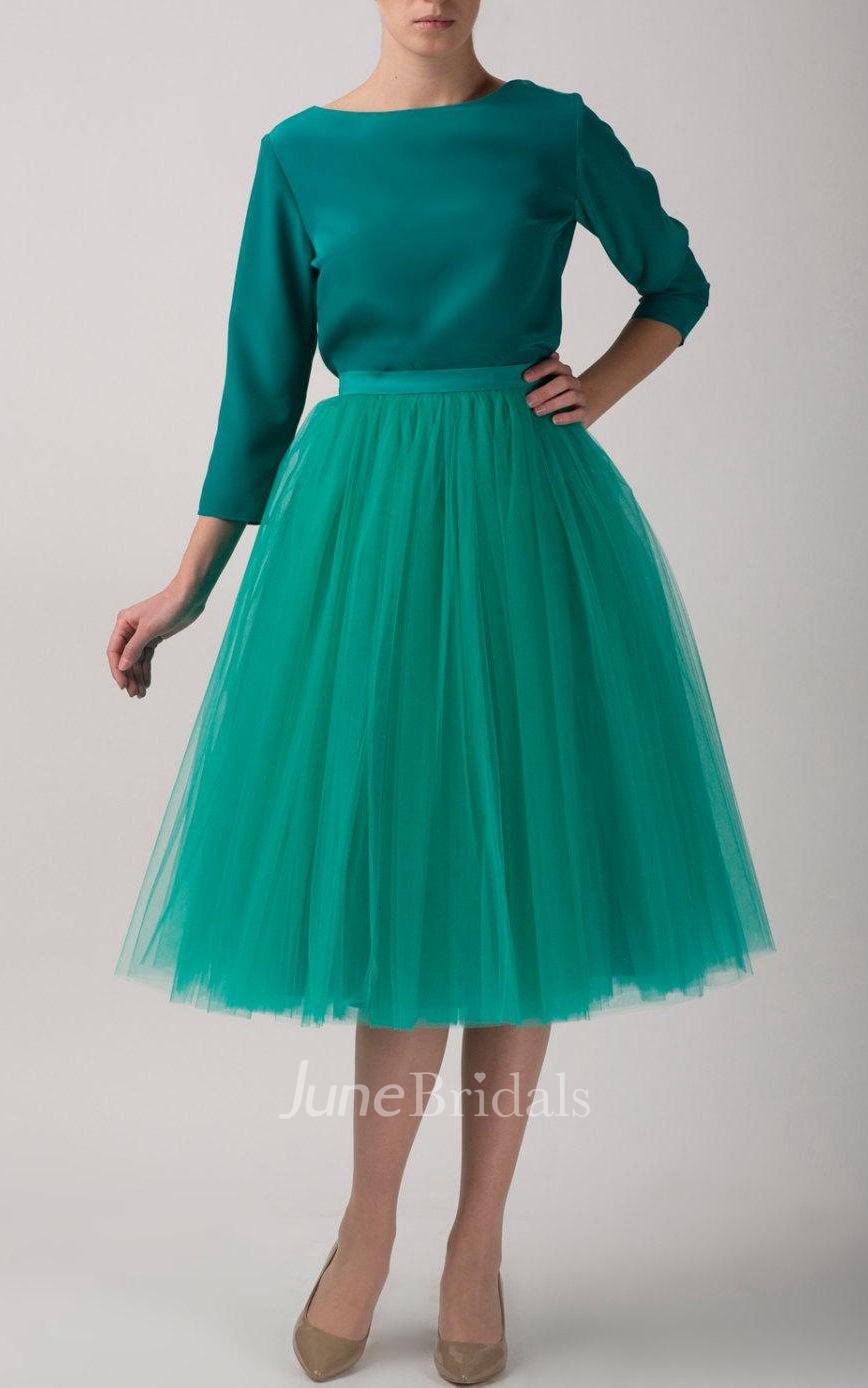 Emerald tulle tutu skirt tea length dress june bridals for Tea length tulle skirt wedding dress