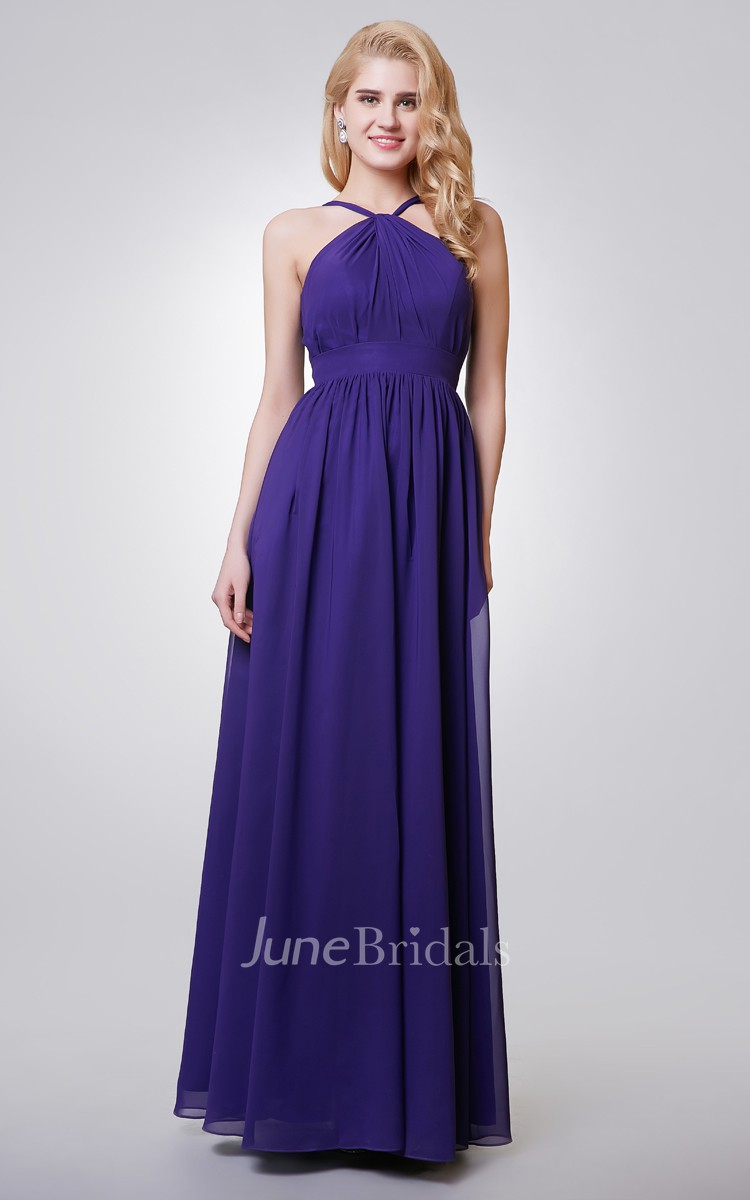 Halter A-line Long Chiffon Dress With Key-hole - June Bridals