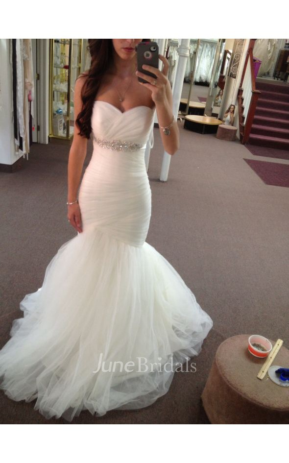Sweetheart ruched beaded empire mermaid tulle gown with for Heart shaped mermaid wedding dresses