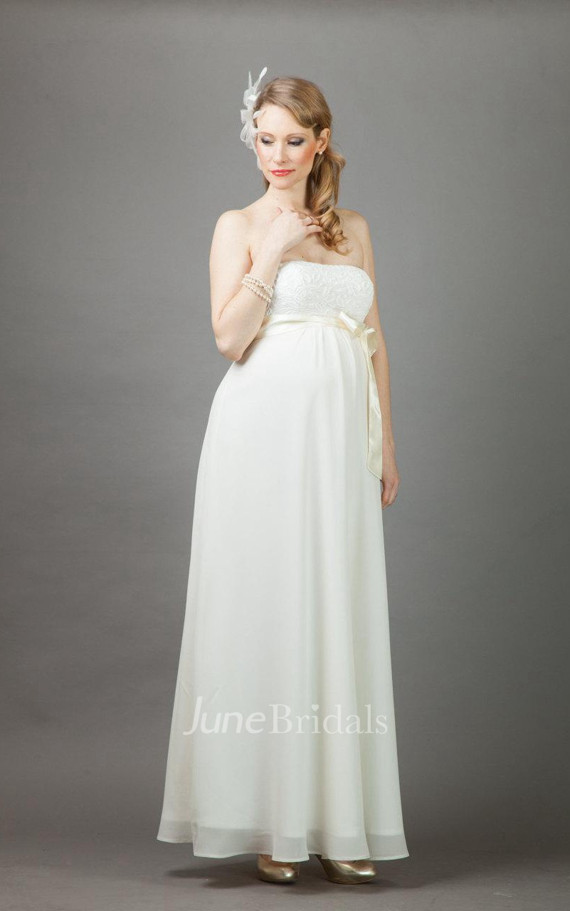 Annie long maternity wedding with bolero dress june bridals for Maternity wedding dresses under 100