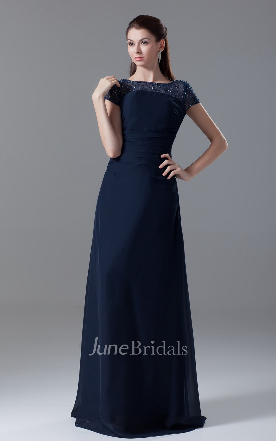 Maxi Bateau Neck Pleated Sleeve Dress With Crystal