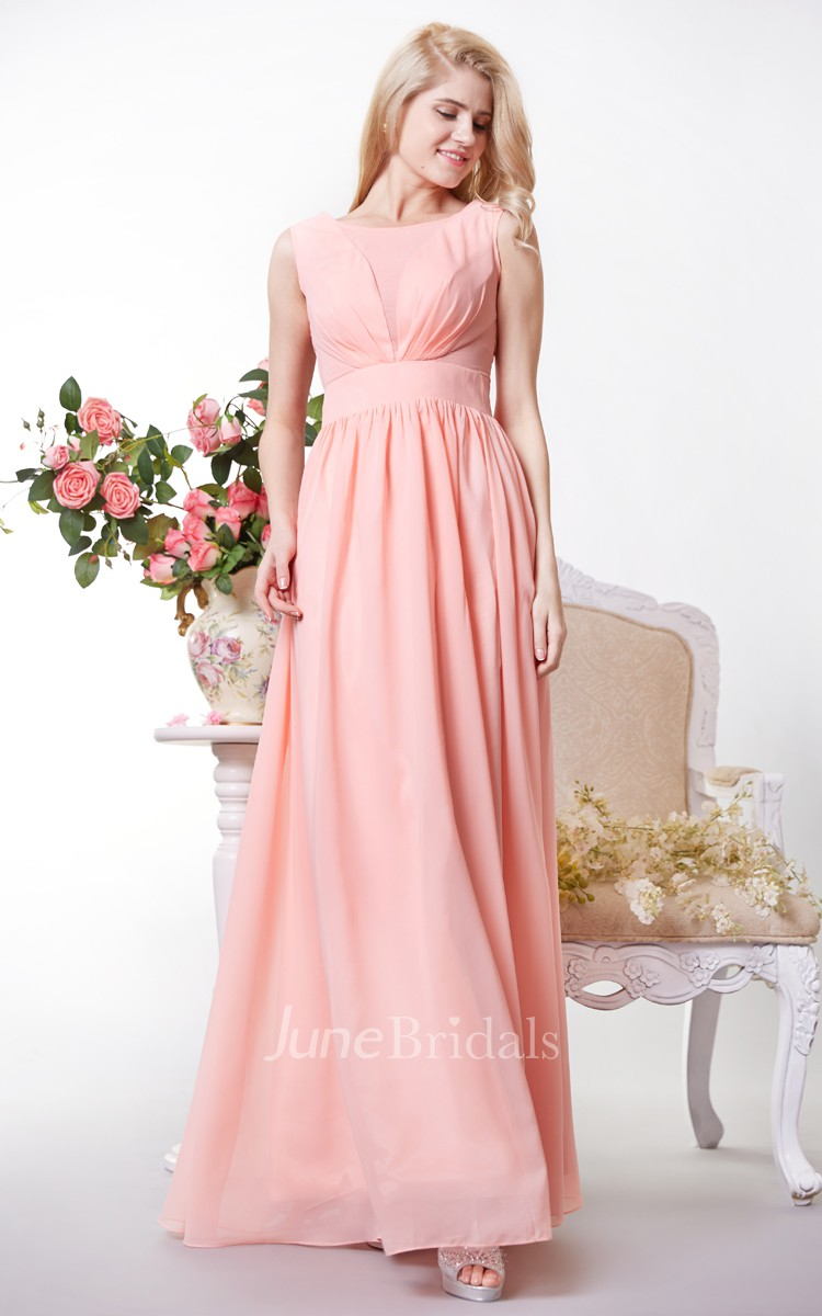Chic Bateau Neck A-line Chiffon Gown With V Back - June Bridals