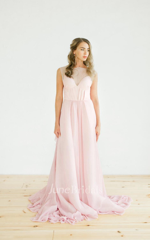 Pink Open Back Non Corset Wedding Riffles Dress