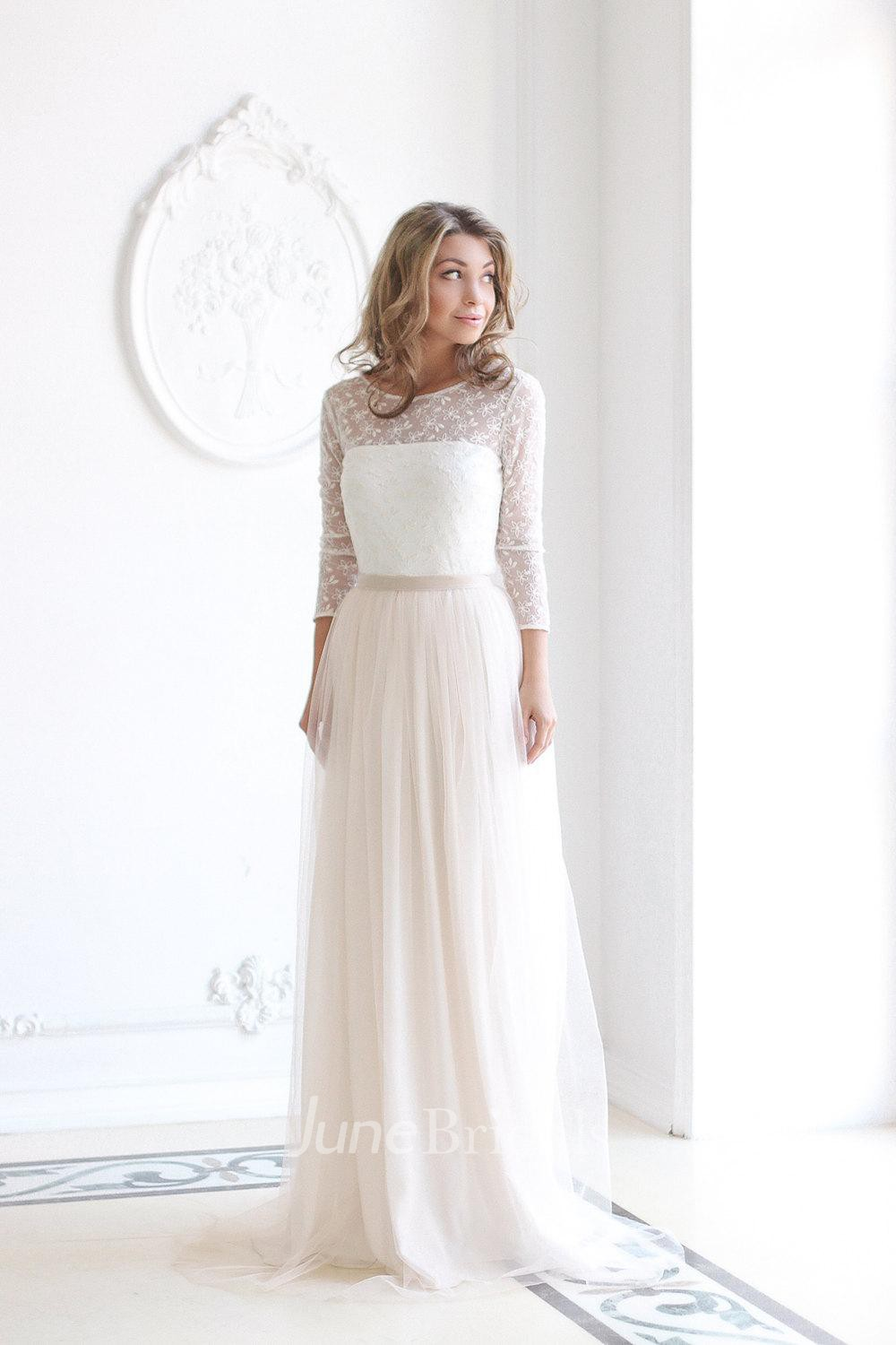 Scoop neck long sleeve tulle wedding dress with lace for Tulle wedding dress with sleeves