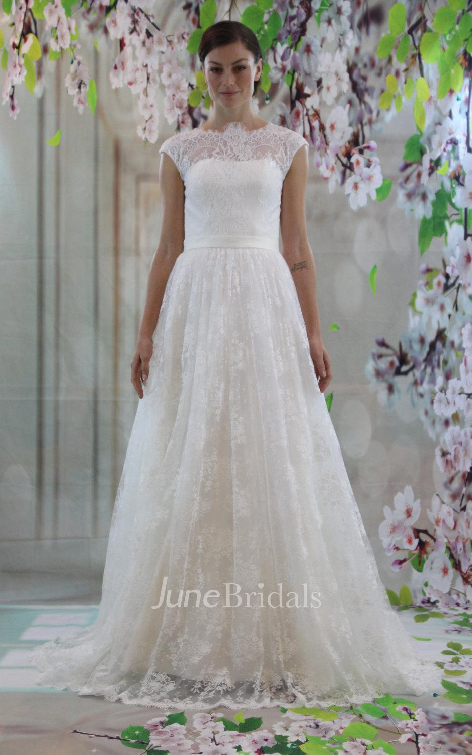 4a620c54584fa High-Neck Cap Sleeve A-Line Lace Wedding Dress With Court Train - June  Bridals
