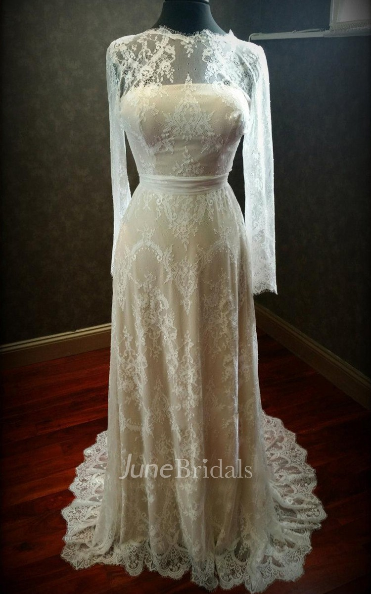 Nude and ivory lace stretch wedding with long sleeves for Stretch lace wedding dress