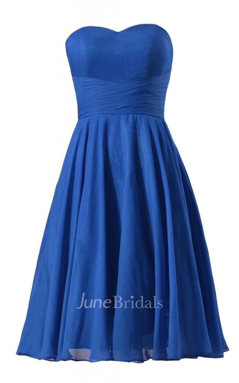 Sweetheart Ruched Sash Knee-length Pleated Chiffon Dress ...