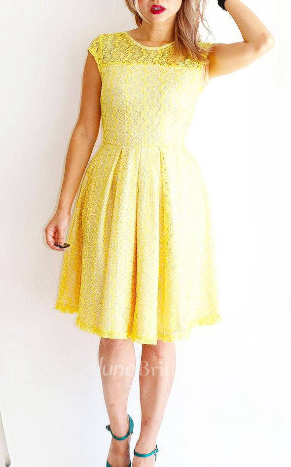 Gossamer lemonade lemon yellow lace bridesmaid with short for Yellow wedding dresses for sale
