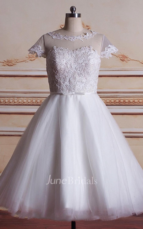 Short Tea Length Tulle Lace Satin Weddig Dress June Bridals