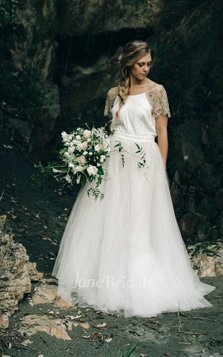 Paige wedding with copper beading and tulle skirt ivory for Tulle skirt under wedding dress