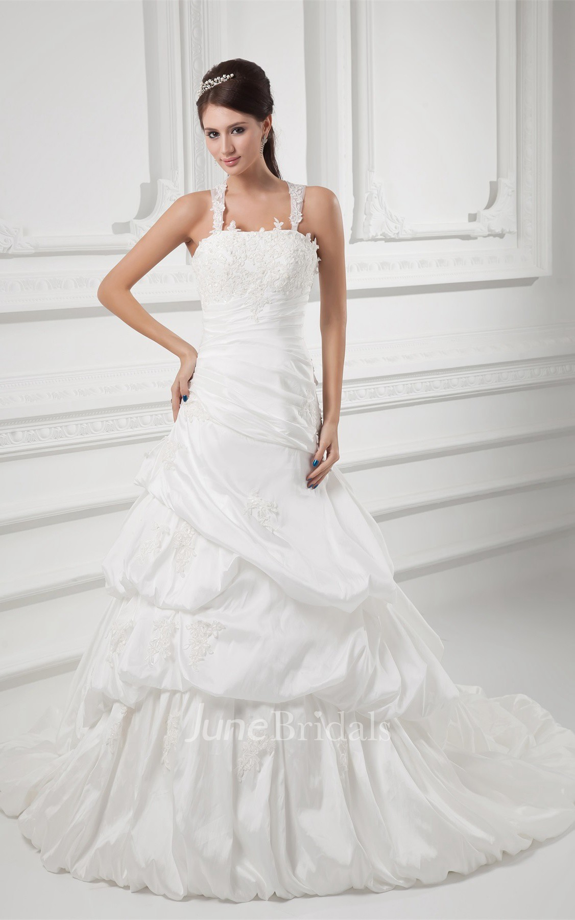 Strapped A Line Pick Up Gown With Appliques June Bridals