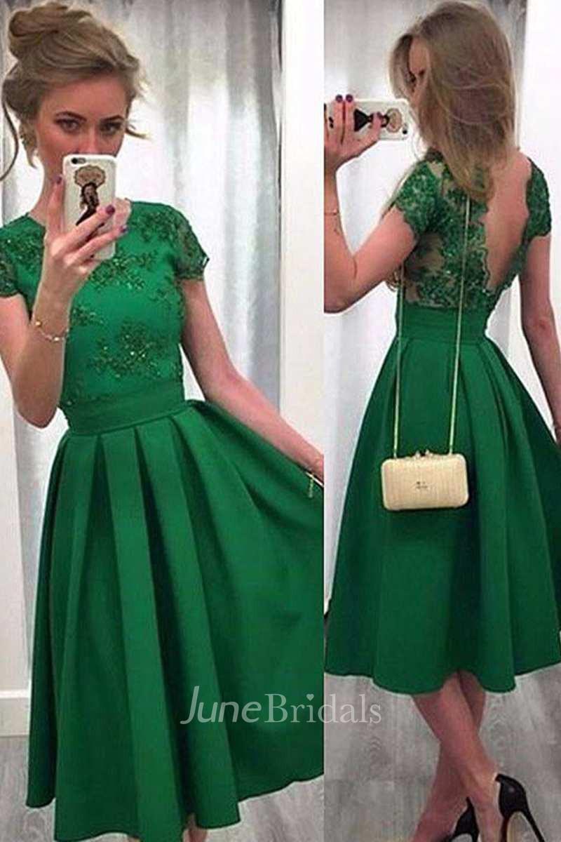 Short Sleeve Lace Bodice A-line Tea Length Satin Dress